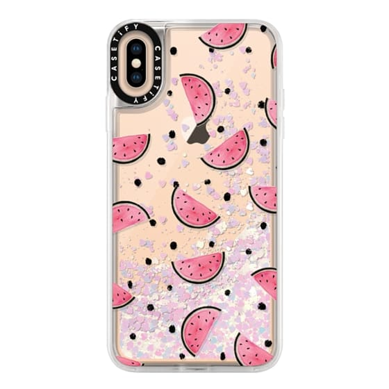 iPhone XS Max Cases - watercolor Pink and gold Watermelon fruit with black ink dots pattern clear case