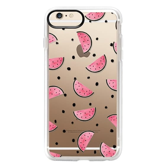iPhone 6 Plus Cases - watercolor Pink and gold Watermelon fruit with black ink dots pattern clear case