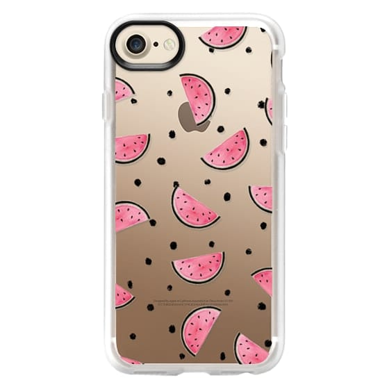 iPhone 7 Cases - watercolor Pink and gold Watermelon fruit with black ink dots pattern clear case