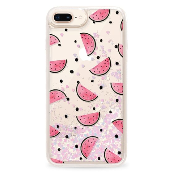 iPhone 8 Plus Cases - watercolor Pink and gold Watermelon fruit with black ink dots pattern clear case