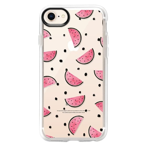 iPhone 8 Cases - watercolor Pink and gold Watermelon fruit with black ink dots pattern clear case