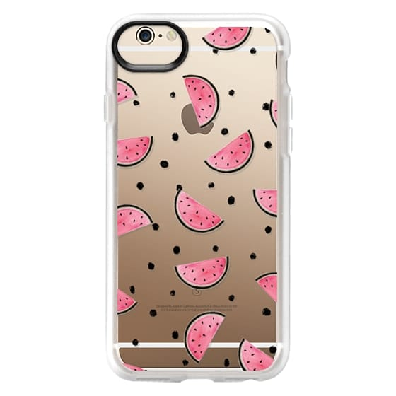 iPhone 6s Cases - watercolor Pink and gold Watermelon fruit with black ink dots pattern clear case