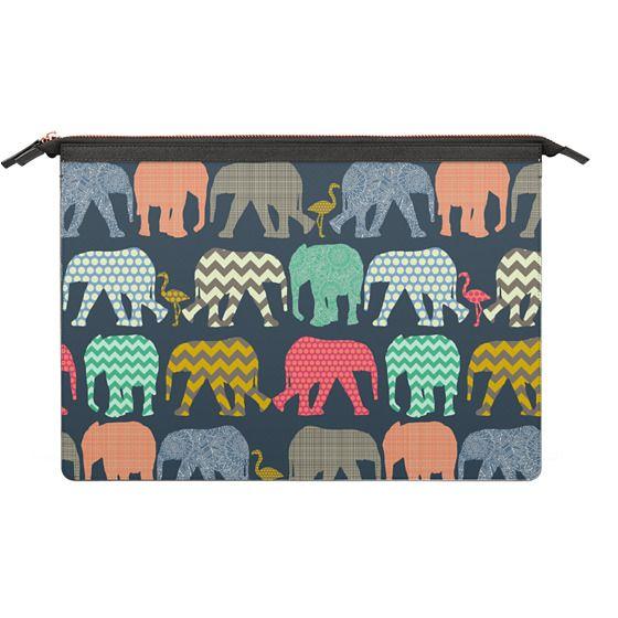 MacBook Air 13 Sleeves - baby elephants and flamingos