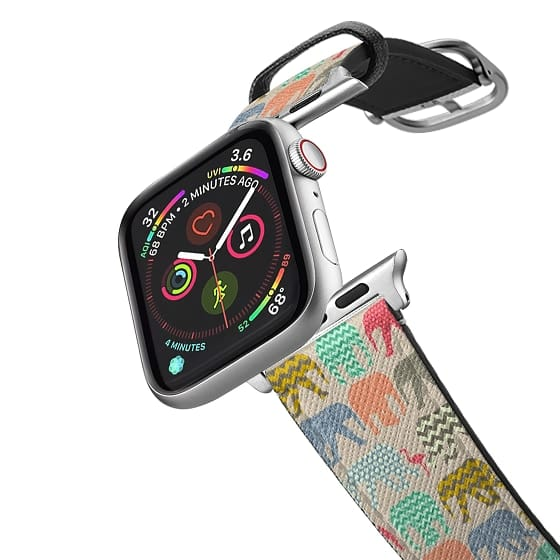 Apple Watch 38mm Bands - baby elephants and flamingos linen