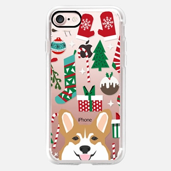 iPhone Case -  corgis christmas cell phone transparent clear case for new iPhone welsh corgi presents