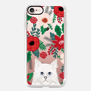 iPhone Case -  White Cat fluffy white christmas holiday cat lover gifts mistletoe and holly florals red and green