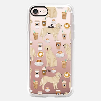 iPhone Case -  Golden Retriever coffee latte cafe clear case for popular dog breeds by pet friendly