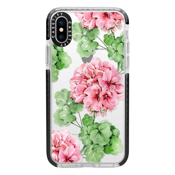iPhone X Cases - Watercolor geranium