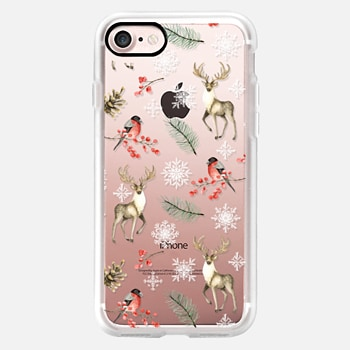 iPhone Case -  Christmas pattern with deer, bullfinch, snowflakes. Watercolor