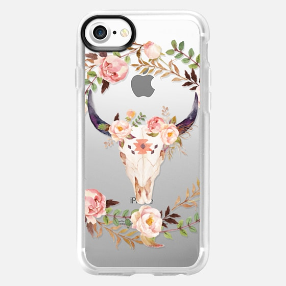 Watercolour Floral Bull Skull - Transparent - Wallet Case