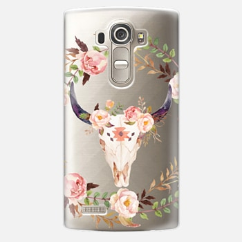 LG G4 Case Watercolour Floral Bull Skull - Transparent