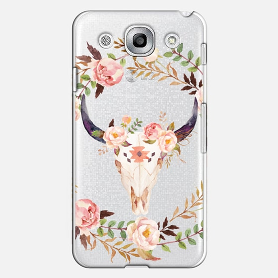 Watercolour Floral Bull Skull - Transparent