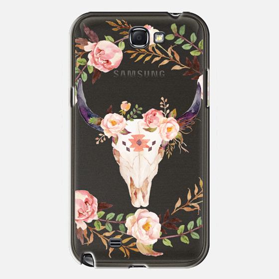 Watercolour Floral Bull Skull - Transparent