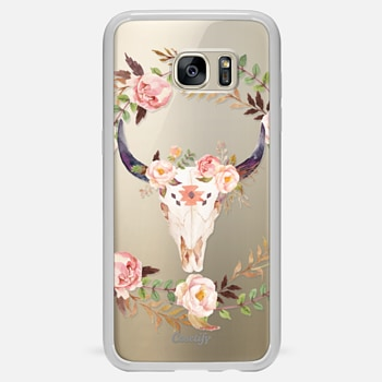 Samsung Galaxy S7 Edge ケース Watercolour Floral Bull Skull - Transparent