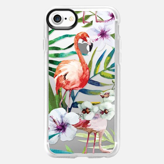 Tropical Flamingo - Transparent - Wallet Case