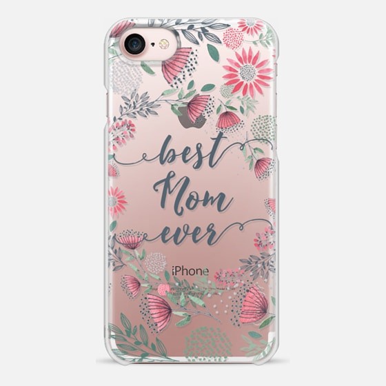 Best Mom Ever Watercolor Floral Pink and Green