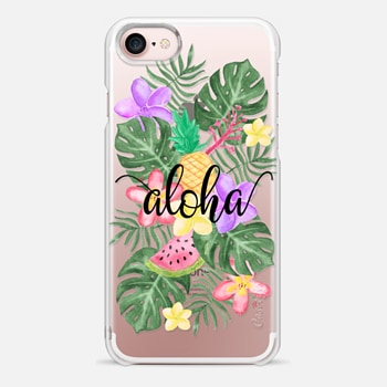 iPhone 7 Case Tropical Watercolor Floral Leaves Aloha