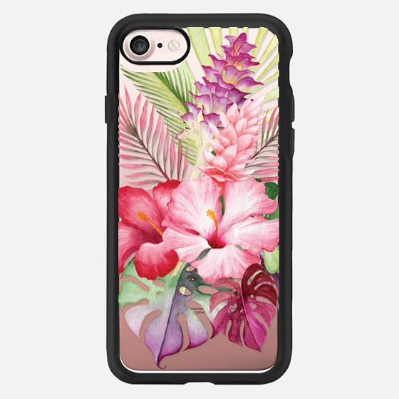 Watercolor Tropical Pink Floral -