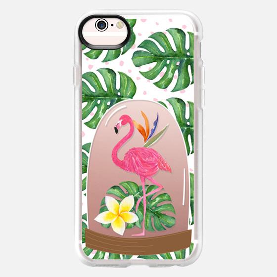 Watercolor Flamingo Tropical Snowglobe