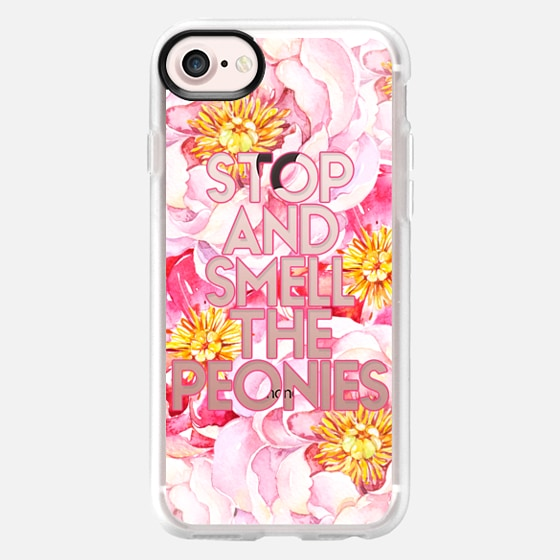 Watercolor Pink Peonies - Stop and Smell the Peonies - Classic Grip Case