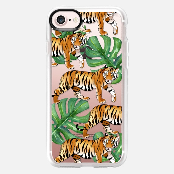 Tigers in the Jungle - Tropical Watercolor Leaves - Classic Grip Case