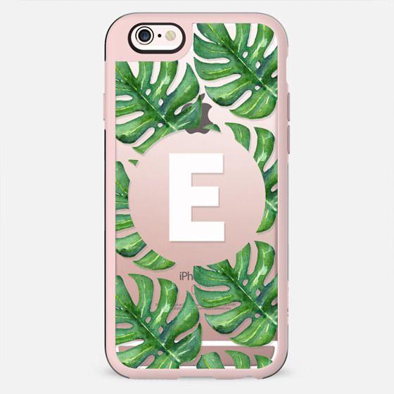 Watercolor Tropical Monstera Leaves - Monogram E - New Standard Case