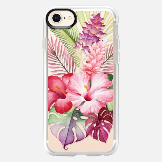 Watercolor Tropical Pink Floral - Snap Case