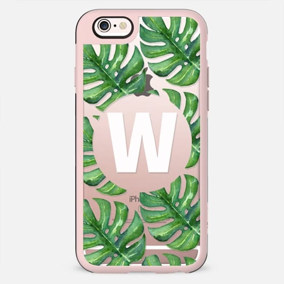 Watercolor Tropical Monstera Leaves - Monogram W - New Standard Case