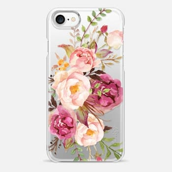 iPhone 7 Case Watercolour Floral Bouquet - Transparent