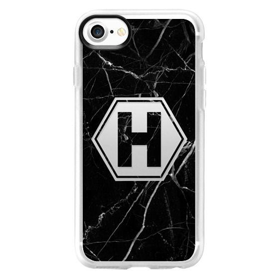 iPhone 7 Plus Cases - Black Marble - Monogram H