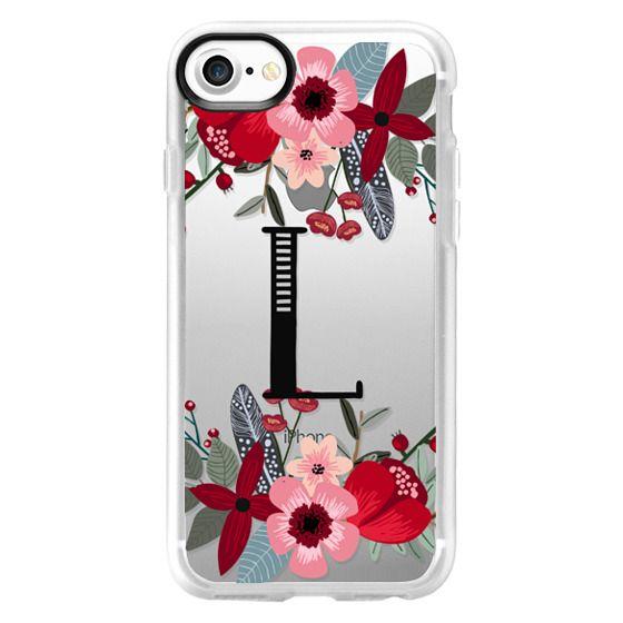 Burgundy and Blush Pink Floral - Monogram L