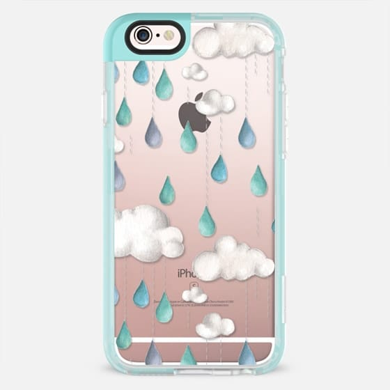 Watercolor Clouds and Raindrops -