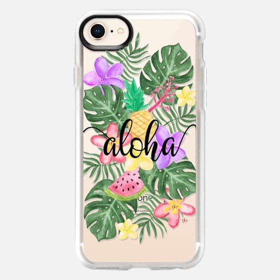 Tropical Watercolor Floral Leaves Aloha - Snap Case