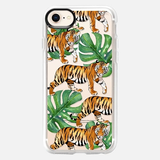 Tigers in the Jungle - Tropical Watercolor Leaves - Snap Case