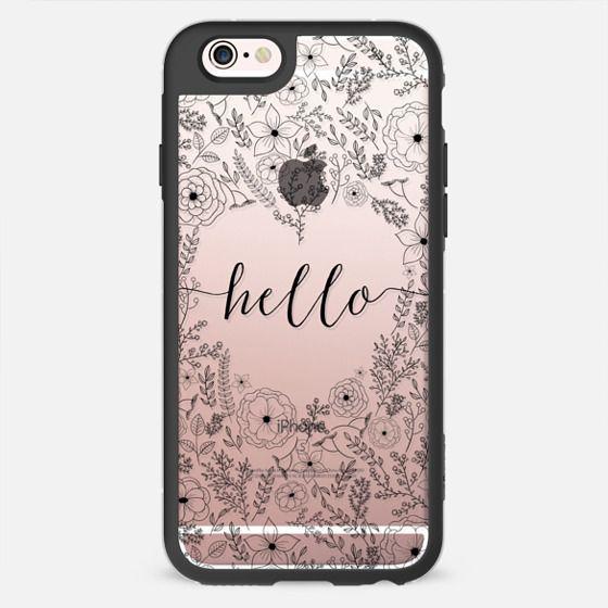 Hello - Black Lace Floral -