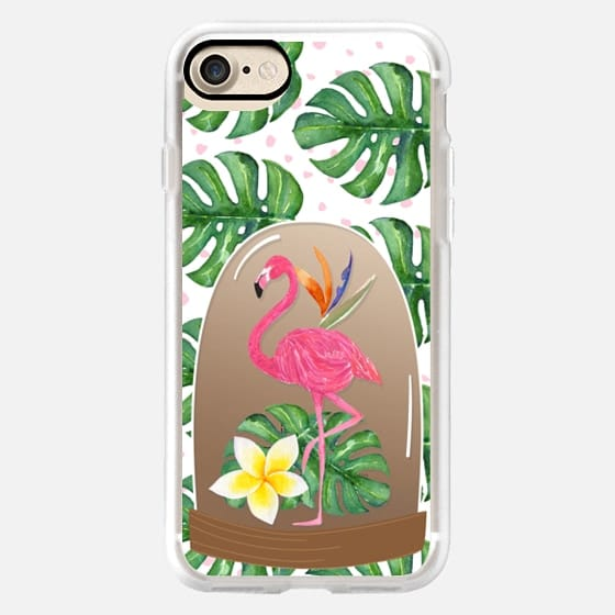 Watercolor Flamingo Tropical Snowglobe -