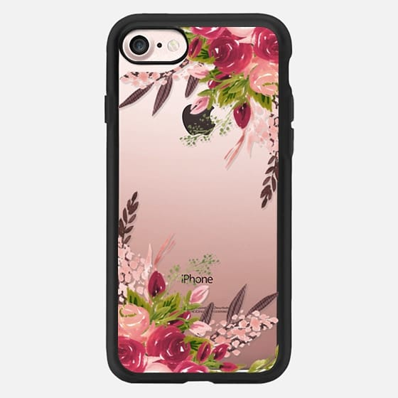 Watercolor Burgundy Blush Floral Peonies -
