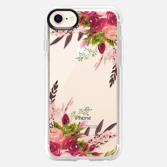 Watercolor Burgundy Blush Floral Peonies - Snap Case