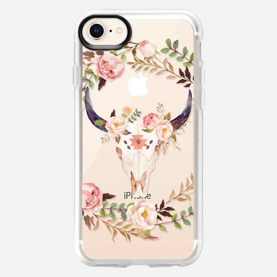 Watercolour Floral Bull Skull - Transparent - Snap Case