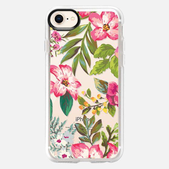 Pink Tropical Florals - Transparent - Snap Case