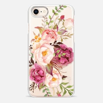 iPhone 8 Case Watercolour Floral Bouquet - Transparent