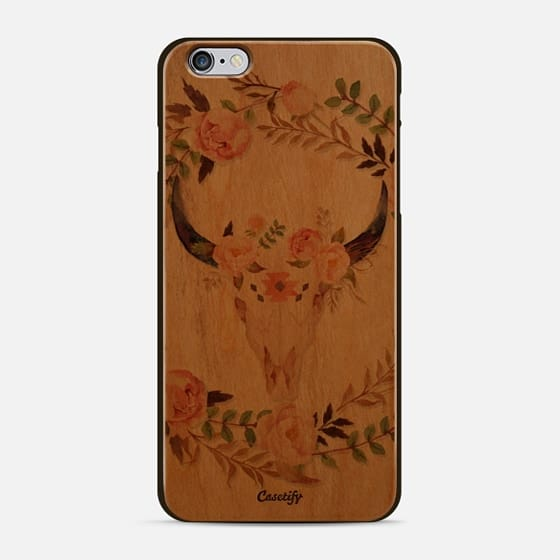 Watercolour Floral Bull Skull - Transparent - New Standard Case