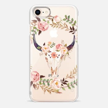 iPhone 8 ケース Watercolour Floral Bull Skull - Transparent