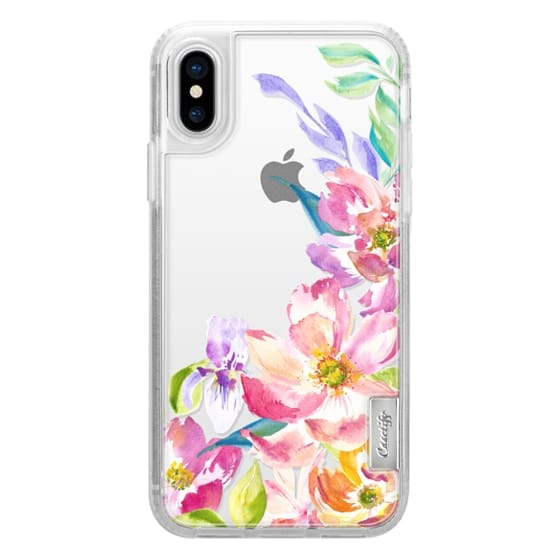 iPhone X Cases - Bright Watercolor Floral Summer Garden