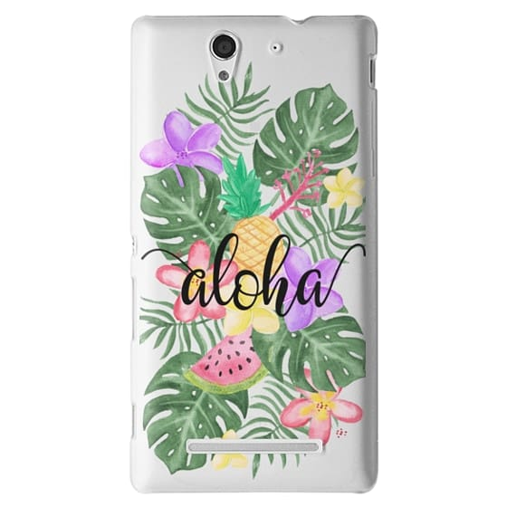 Tropical Watercolor Floral Leaves Aloha