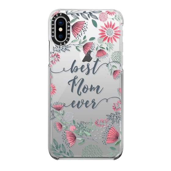 iPhone X Cases - Best Mom Ever Watercolor Floral Pink and Green