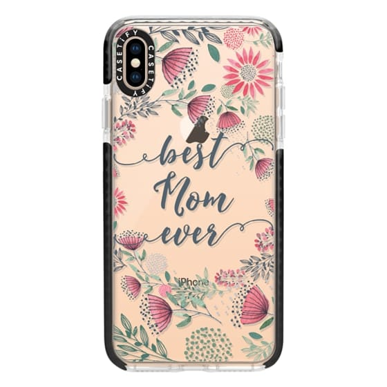 iPhone XS Max Cases - Best Mom Ever Watercolor Floral Pink and Green