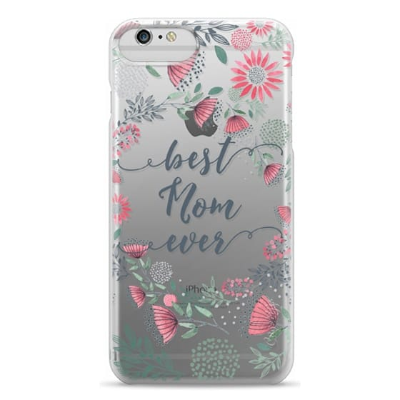 iPhone 6 Plus Cases - Best Mom Ever Watercolor Floral Pink and Green