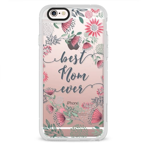 iPhone 4 Cases - Best Mom Ever Watercolor Floral Pink and Green