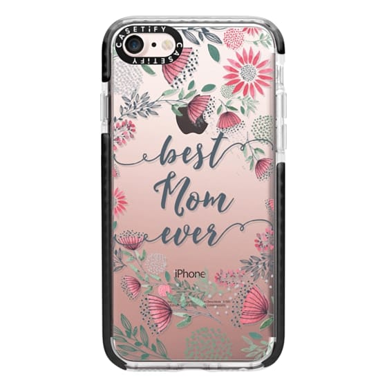 iPhone 7 Cases - Best Mom Ever Watercolor Floral Pink and Green